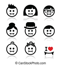 Vampires - man, woman, baby faces - Vector icons set of ...