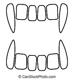 Vampire's teeths icon black color illustration flat style ...