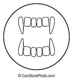 Vampire's teeths icon black color in circle round outline