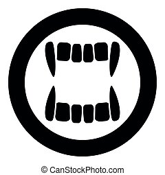 Vampire's teeths icon black color in circle round vector ...