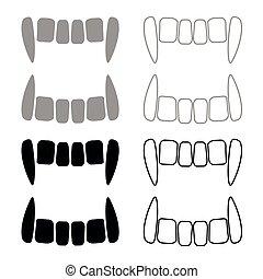 Vampire's teeths icon set grey black color outline