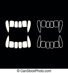 Vampire's teeths icon set white color illustration flat ...