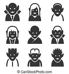 vampiro, ícones, jogo, branco, experiência., vetorial