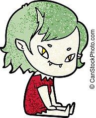 vampiro, amistoso, abajo, niña, caricatura, sentado