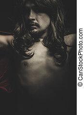 vampiro, con, abrigo negro, y, pelo largo, sangre