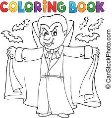 vampiro, tema, 2, libro colorante