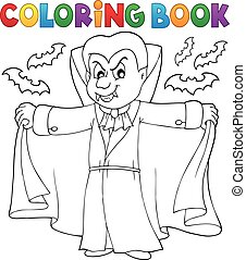 vampiro, tema, 2, libro colorear