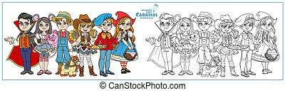 vampiro, trajes, colorido, granjero, capucha, equitación, ...