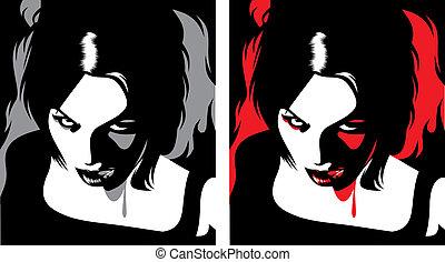 vampyr, specificera, kvinna