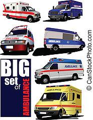 van., 大きい, セット, 現代, 救急車