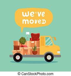 van., blase, moving., rgeöffnete, füllen, stil, begriff, karosserie, karikatur, lastwagen, ve, daheim, moved., kästen, beschriftung, abbildung, vektor, pappe, innenseite., wir