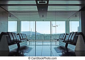 van, boeiend, moderne, vertrek lounge, luchthaven, schaaf