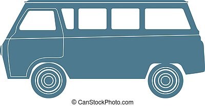 Van Car silhouette isolated on white. Vector