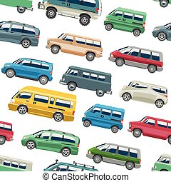 Van car vector minivan delivery cargo auto vehicle family minibus truck and automobile banner isolated van citycar seamless pattern background