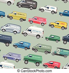 Van car vector minivan delivery cargo auto vehicle family minibus truck and automobile banner isolated van citycar on seamless pattern background