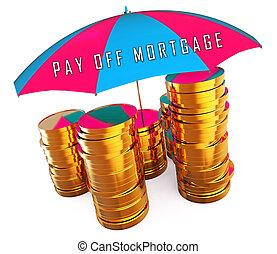 van, compleet, hypotheek, betalen, het tonen, muntjes, -, illustratie, payback, 3d, lening, huisvesting