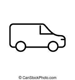 van delivery car line style icon