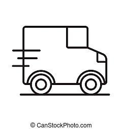 van delivery service line style icon