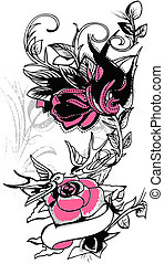 van een stam, bloem, ontwerp, zwaluw