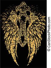 van een stam, grafisch, vleugel, kruis