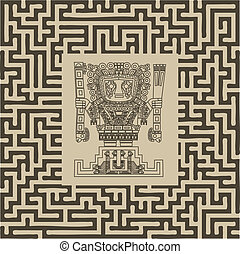 van een stam, mayan, symbolen, inca, vector, doolhof