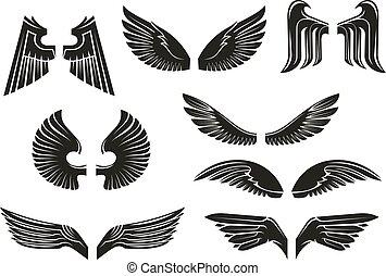 van een stam, set, black , heraldisch, vleugels