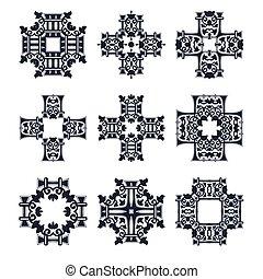 van een stam, vector, set, kruis