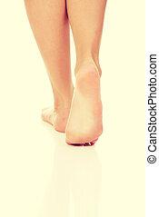 van een vrouw, blote, feet.