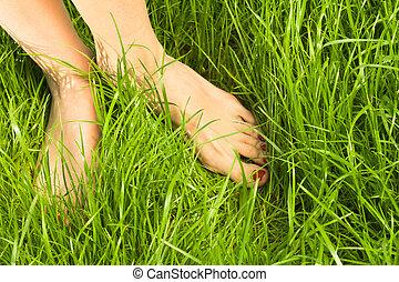 van een vrouw, naakte voeten