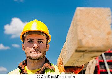van hout onderlegger, bouwsector, verdragend, arbeider