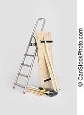van hout rolluik, stepladder