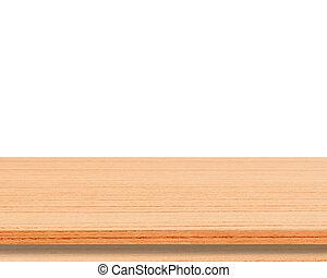 van hout top, vrijstaand, display, montage, producten, achtergrond, tafel, witte , jouw, lege