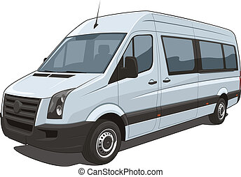 Van - Vector isolated van passenger and cargo on white...