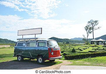 Van in garden
