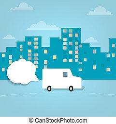 van in the city