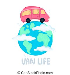 Van life concept. Campervan circling planet. Traveling across world. Earth in clouds. Red camper in movement. Lifestyle