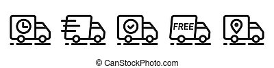 Van, lorry, camion, truck icons. Delivery, shipping service outline, line symbols. Transportation, distribution business icons. Fast, free, on the way, delivered, shipped, confirmed signs. Vector