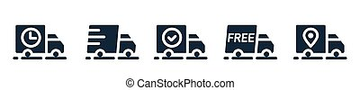 Van, lorry, camion, truck icons. Delivery, shipping service outline, line symbols. Transportation business icons. Fast, free, on the way, delivered, shipped, confirmed signs. Vector illustration