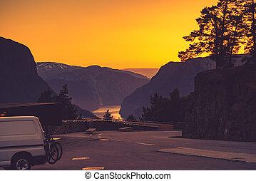 Van on parking area at Stegastein viewpoint Norway