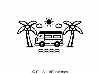 Van on the beach line art illustration