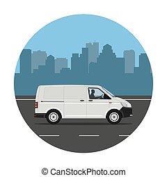 Van on the city background