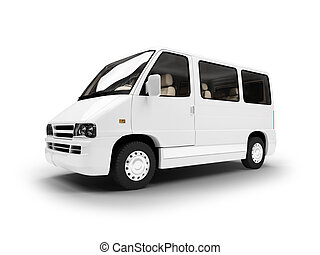 van over white background - isolated van over white...