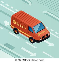 Van parcel delivery concept background, isometric style