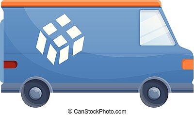 Van parcel delivery icon, cartoon style