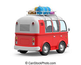 van retro cartoon with suitcases back