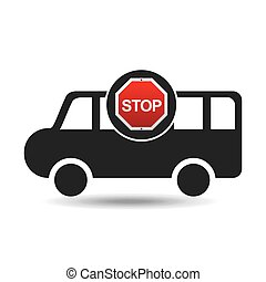van stop road sign design