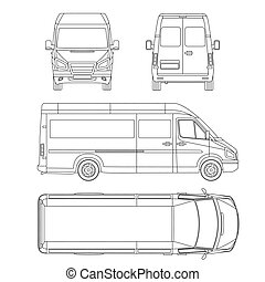 Van template commercial vehicle blueprint drawing proection all vector service car template white blank commercial vehicle delivery van malvernweather Choice Image