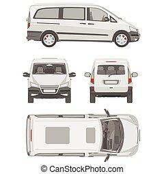 van template. commercial vehicle. Blueprint, drawing,...