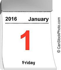 van, traan, januari, kalender, 2016, 1
