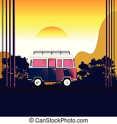 van travel on the road near the beach and mountain. forest and mountains on the background. Adventures in nature. vector illustration.